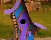 bird house, Birdhouse, Whimiscal birdhouse in color options with dragon fly and wire fret work, garden art, in color options