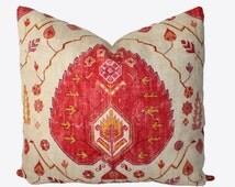 Decorative, Old World Aubusson Kilam, Suzani, Red Medallion, 18x18, 20x20, 22x22 Throw Pillow