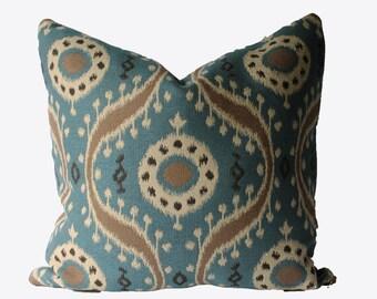 Decorative Suzani Medallion Pillow Cover, Blue, 18x18, 20x20, 22x22, or Lumbar Throw Pillow