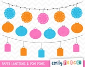 80% OFF SALE Paper Lanterns Pom Poms Summer Banner Cute Clip Art, Instant Download, Commercial Use