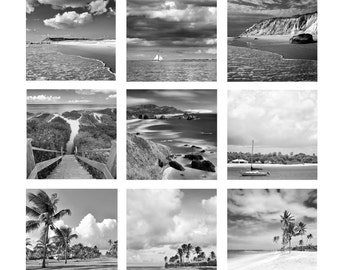 Set of 9 Nine Photo Prints, Black White Grey Photography, Coastal Beach Decor, Gallery Wall Set, Large Nautical Artwork, Square Photographs