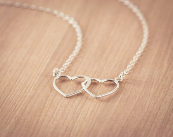 Silver Open Two Heart Necklace, Sterling Silver Heart Jewelry, Friendship Necklace Gift, Sweetheart Necklace, Mom gift