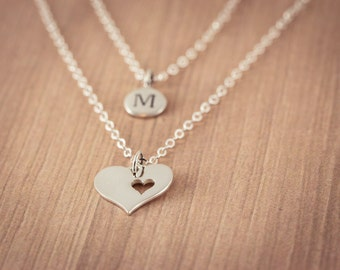 Mother's  Heart with Personal One(1) Initital  Necklace, Sterling Silver Heart Jewelry, Friendship Necklace Gift,  Mother Necklace