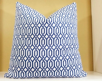Nautical  Blue and white decorative pillow cover - interlocking links pillow - All Sizes available - Trellis fabric both sides