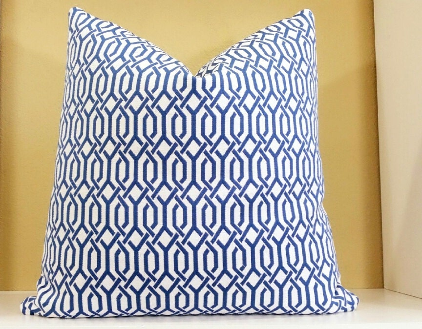 Royal Blue And White Throw Pillows : Royal Blue Pillow Royal Blue and white decorative pillow