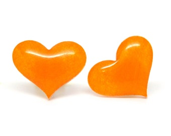 Stud earrings orange hearts 15mm hand painted ear posts