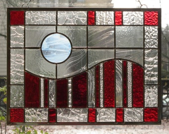 Modern Red Stained Glass
