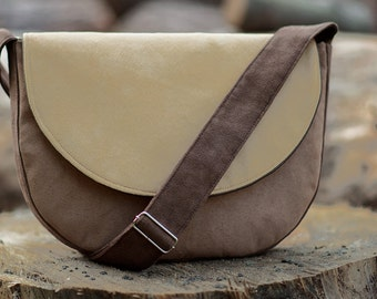 MIDI series - dark brown / beige / brown sand messenger bag, midi crossbody bag