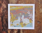 Two Rabbits Miniature Collage- PRINT