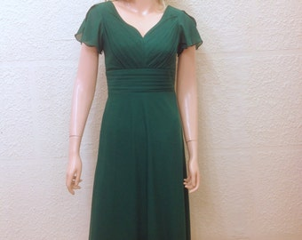 Dark Green Bridesmaid Dress. Dress With Sleeves