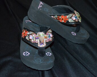 SALE! Kids flip flops with clear bling cross and woven flower decoration with bling on straps