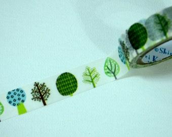 1 Roll of Japanese Shinzi Katoh Design  Washi Masking Paper Tape- Tree