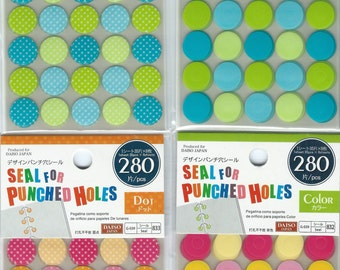 Binder Hole Reinforcement Stickers - seal for punched holes 280pcs (Round)