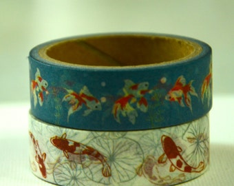 2 Rolls of Japanese Washi Masking Paper Tape- Koi and Goldfish