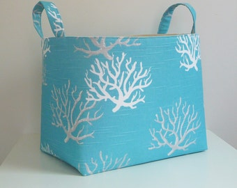 Large Storage Basket Fabric Organizer in Premier Prints Coral Coastal Blue with Canvas Liner - Gift Basket - Choose Your Size