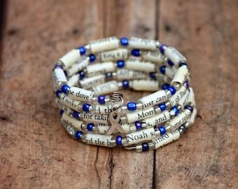 Cancer Awareness Book Bead Charm Bracelet - A Walk to Remember - Choose Awareness Color