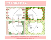 CHRISTMAS COLORS - EDITABLE Printable labels - cards - tags - stickers - party food table cards - Instant Download