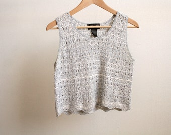90s speckled TANK TOP crop top knit sweater shirt blouse