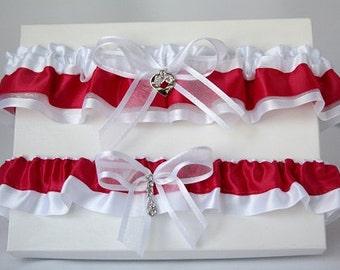 Red and white garters/Red and white garter set/ Satin garter/Rhinestones garter/Red lingerie/Prom garter/Wedding garter set/Bridal garter