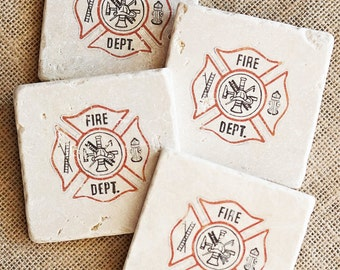 Firefighter- Coasters, Firefighter Decor, Firefighter Gift, Fireman Logo, Fireman Gift, Fireman Decor, Fireman Coaster, Fireman, Trivet