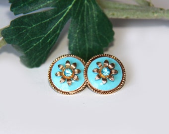 Turquoise And Gold Earrings - Vintage With Blue Rhinestone Screw Earrings - Wedding Gift