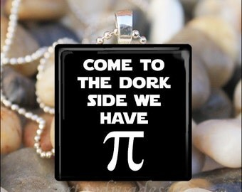 THE DORK SIDE Pi Sign Humorous Funny Nerd Glass Tile Pendant Necklace Keyring