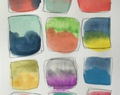 Original Watercolor Painting - Color Study No. 020 - Abstract - Squares