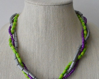 Purple, Lime Green, and Silver Twisted Wooden Necklace
