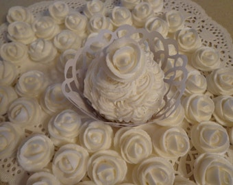 24  White Royal Icing Roses Edible For Cakes, Weddings , Cupcakes