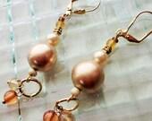 Pearl Gold Crystal Chunky Beaded Earrings,Dangle Gold Hoop Bead Earrings, Recycled Jewelry, Gift for Her, Wedding Jewelry, Bride Earrings