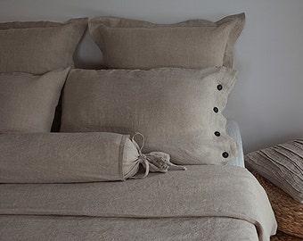 King linen bedding - king duvet set - linen duvet set - grey king set - natural grey linen - USA king bedding - wedding gift idea