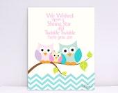 We Wished Upon a Shining Star, Owl Family, Chevron Print, Baby Nursery wall art, Art Decor, Children wall art, Nursery Print