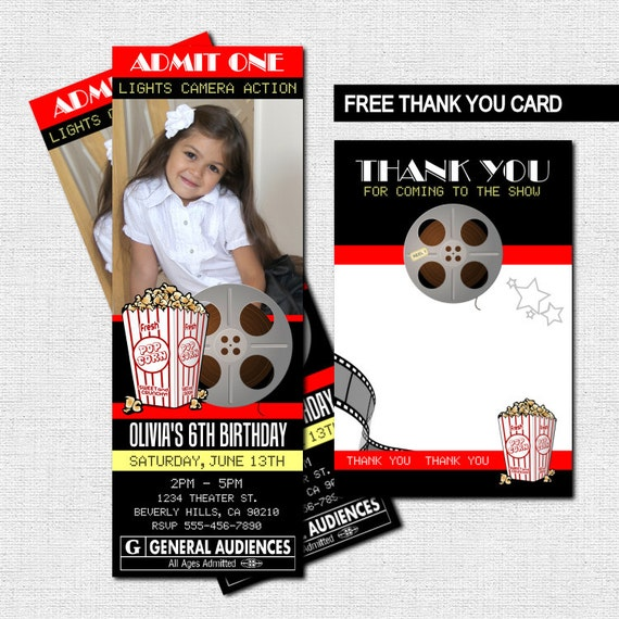 MOVIE TICKET INVITATIONS Theater Birthday Party + Bonus Thank You Card - (print your own) Personalized Printable