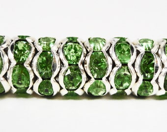 Rhinestone Rondelle Beads 8mm Medium Green Silver Plated Metal Acrylic Rhinestone Crystal Spacer Beads for Jewelry Making 50 Loose Beads