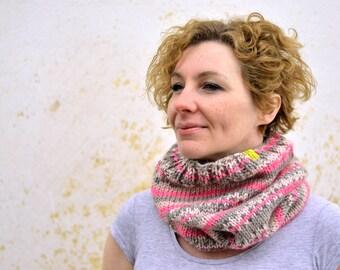 Chunky knit snood, pink, grey cowl, fuchsia, alpaca neckwarmer