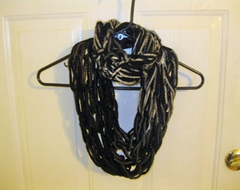 Dark and Neutral Handmade Arm Knitted Infinity Scarf Double Loop Charisma Yarn