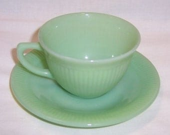 Anchor Hocking Fire King Jadeite Jade JANE RAY Tea or Coffee Cup and Saucer