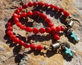 Coral and Antique Bronze Gemstone Bracelet
