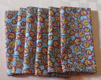 "Dinner Napkins - ""Free Shipping"" -  Cloth Dinner Napkins -  Blue, Pink and Yellow Floral Print - Handmade - Eco Friendly"
