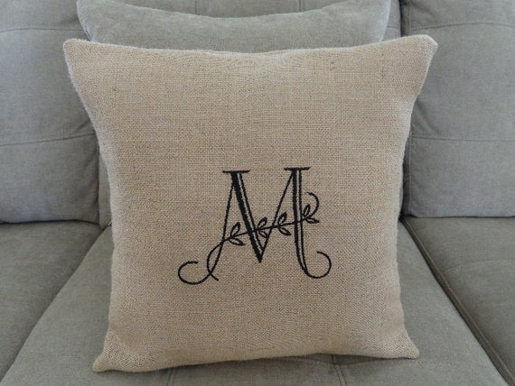 Decorative Burlap Pillow Covers : Burlap Pillow Cover with Embroidered Decorative Initial
