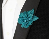 Something Blue leather lapel pin for the groom