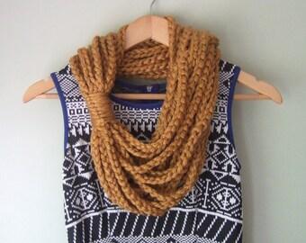 Honey Gold Scarf / Mid Length / Mustard Yellow Scarf / Hygge / Crochet Chain Scarf