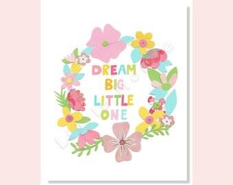 Baby Girl Nursery Art Prints, Nursery Art, Aqua Pink, DREAM BIG, Typography, Wreath, Boho, Shabby Chic,Teal, Turquoise, Kids Art, Floral