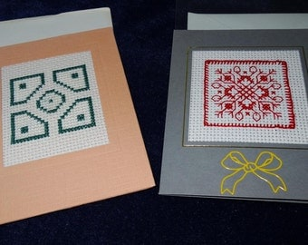 two cards featuring geometric designs