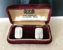 Plum Velvet Cufflink or Earring Box...Wedding...Vintage Jewelry Display Box...Galveston, Texas