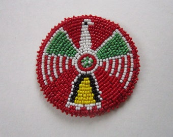 "3"" Glass Beaded Thunderbird Rosette Medallion Tribal Regalia Beadwork Craft 9D"