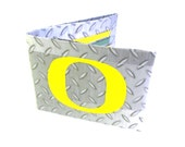 Oregon Ducks Duct Tape Bi-Fold Wallet, Steel Plate, Oregon Ducks, U of O Wallet, Green and Yellow Wallet