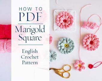 Granny square pattern diy PDF English Crochet Pattern Marigold square - ready for immediate download - by CrochetObjet
