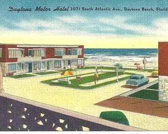 Postcard Daytona Beach FLORIDA Motor Hotel Motel Retro Linen Color  Post card