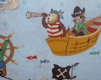 Alexander Henry - Monkey Bizness Collection Pirate Pups in Lt. Blue 7368-B by the Yard